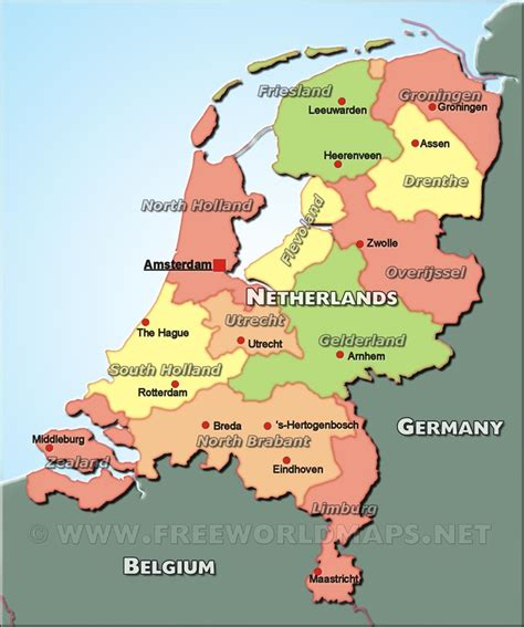 political map of the netherlands the netherlands political map