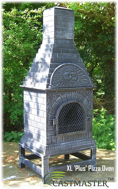 chiminea with pizza oven castmaster outdoor garden xl plus pizza oven cast iron
