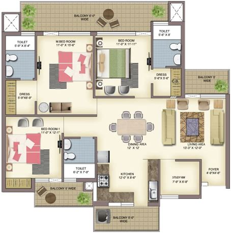 study room floor plan 2 bhk and 3 bhk flats in zirakpur 4 bhk flats in zirakpur