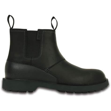 croc boots crocs breck boot black mens lightweight leather boot