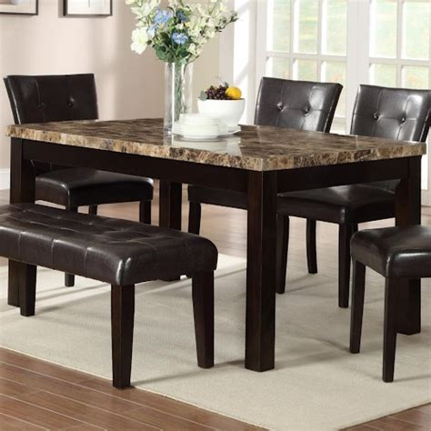 crown bruce rectangular dining table with faux marble