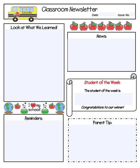 free classroom newsletter templates blank newsletter templates for teachers calendar