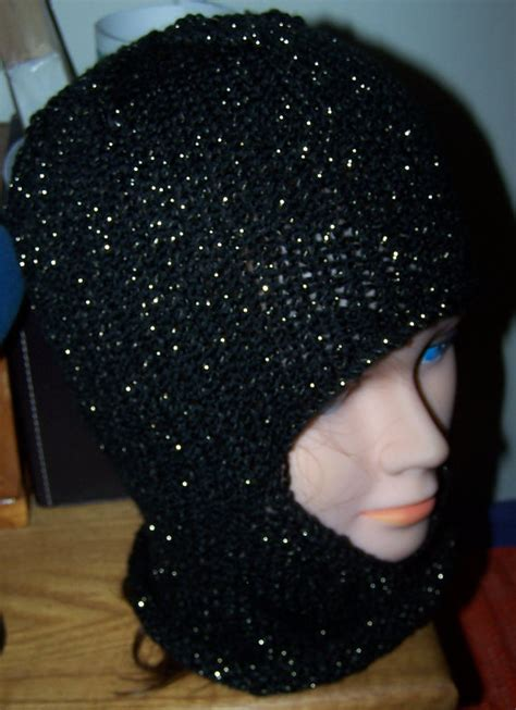 Balaclava Gurun Gold 1 Balaclava Hat Black Sparky Gold Knit Ski Mask Made To