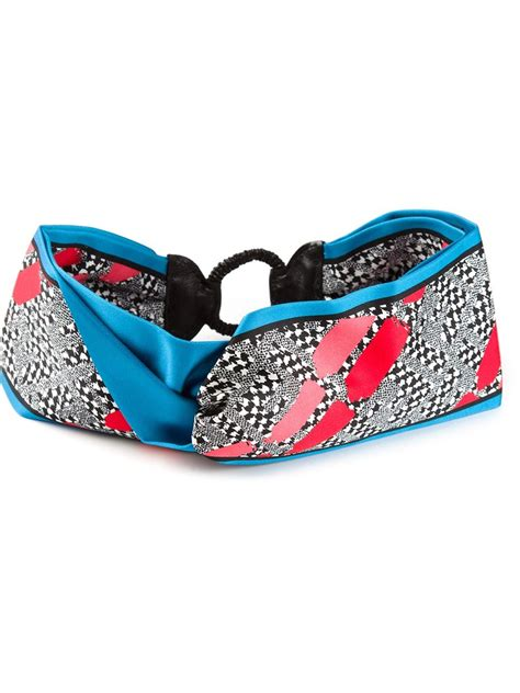 Fendi Tiara fendi geometric print headband in blue lyst