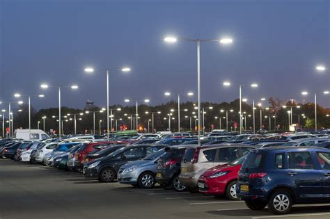 car park led lighting reduces newcastle airport car park lighting