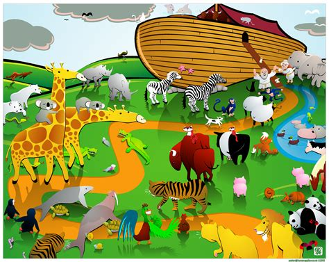 Noahs Ark By Anokneemouse On Deviantart Noah S Ark While Animals Are Going To The Ark Drawing With Color