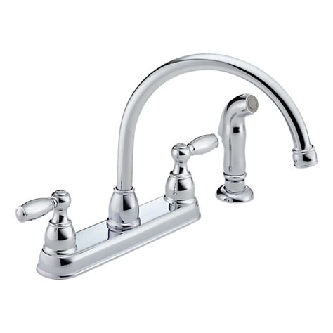 p99575lf two handle kitchen faucet with spray