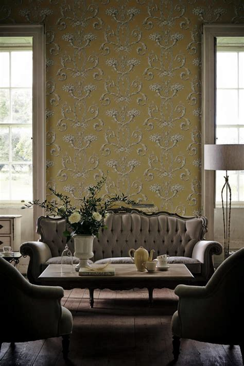 Living Room Paper Motifs Painted Paper In Classic Living Room Interior
