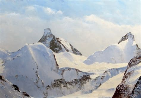 Peinture Blanc Neige by Tableau Peinture Montagne Peinture Huile Glacier Peinture