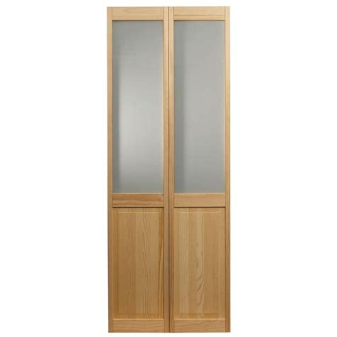 Glass Folding Doors Interior Pinecroft 36 In X 80 In Frosted Glass Raised Panel Pine Interior Bi Fold Door 875930