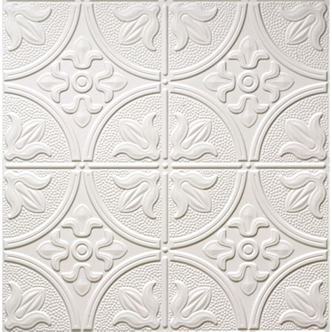 used tin ceiling tiles shop dimensions matte white faux tin 15 16 in drop