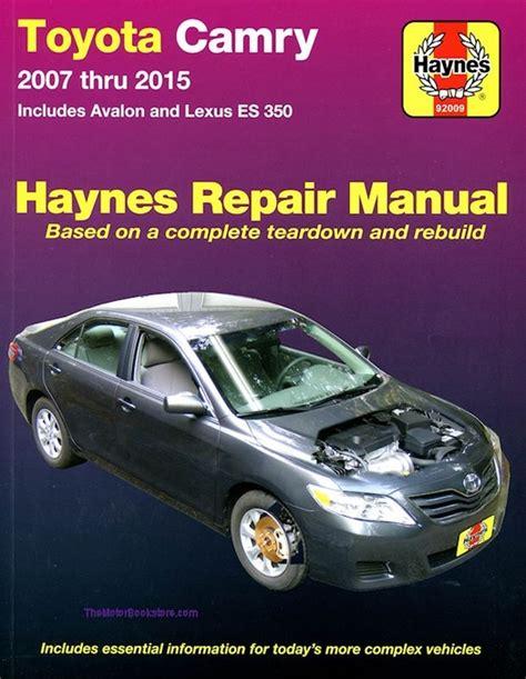 car repair manuals download 2007 toyota camry electronic valve timing toyota camry avalon lexus es350 repair manual 2007 2015 haynes