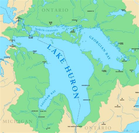 map with cities and rivers map of lake huron with cities and rivers