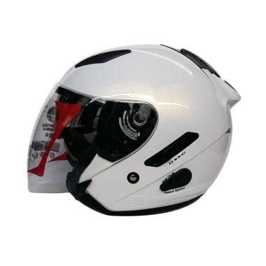 jual kyt galaxy slide white visor putih solid halfface polos doctor helm di