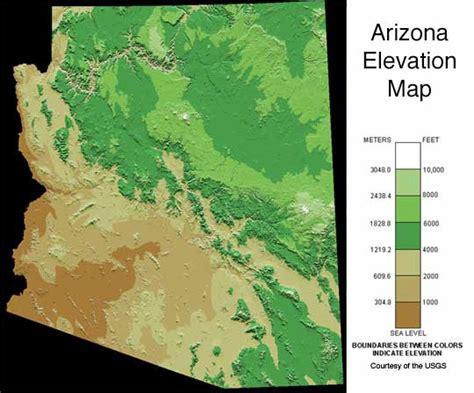arizona elevation map map key elevation