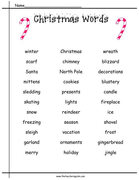 words that describe christmas printouts from the s guide
