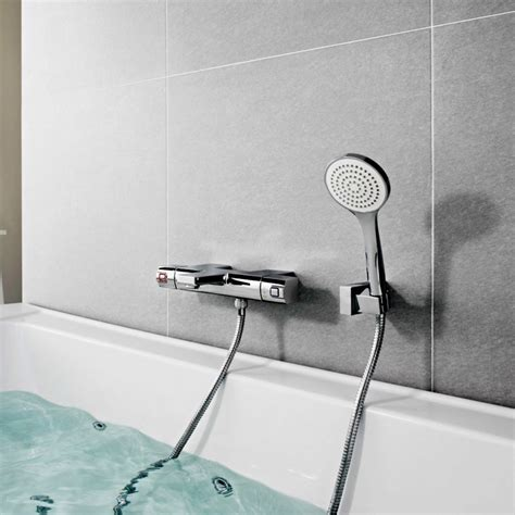 bathroom wall mixer roca l90 wall mounted thermostatic bath shower mixer with