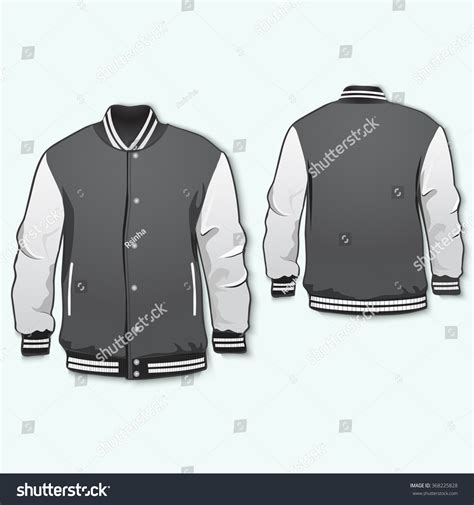 varsity jacket layout varsity jacket template front back vector stock vector