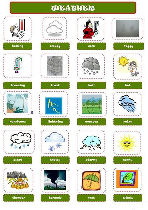 esl le weather pictionary worksheet free esl printable