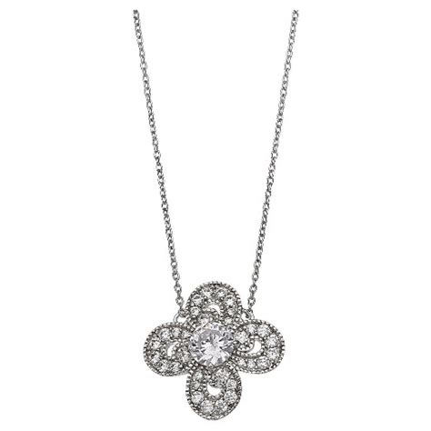 s clear cubic zirconia clover pendant in sterling silver clear gray 18 quot target
