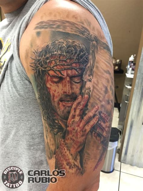 jesus rio tattoo carlosrubio jesus christ full color color movie tattoo