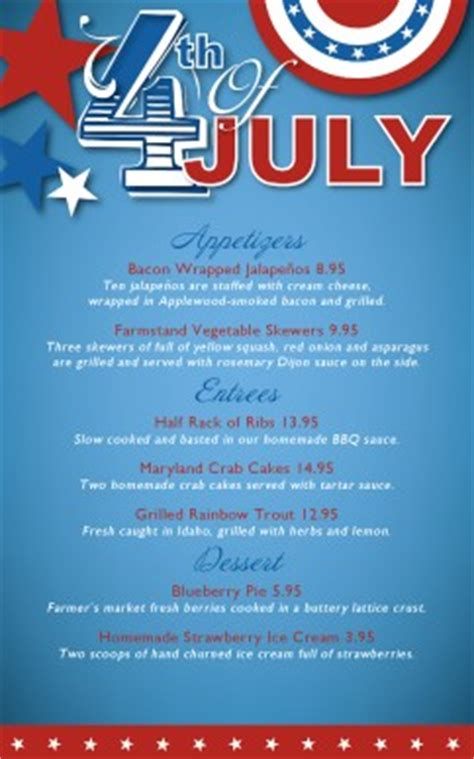 4th Of July Menu Template by Customize July 4th Celebration Specials Menu