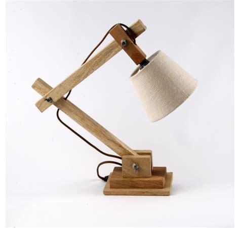 le de chevet ou bureau en bois naturel luminaire