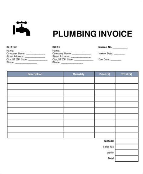 plumbing receipt template 6 plumbing invoice sles exles in pdf excel