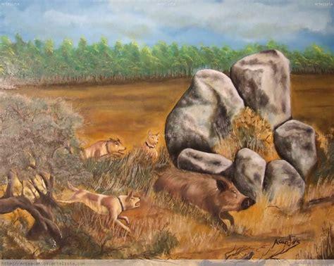 cuadros de caza caza al javali antonio cantos artelista