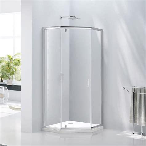 Aqua Glass Shower by Verona Aquaglass Pentagonal Shower Enclosure 1000mm X 1000mm Hinged Door