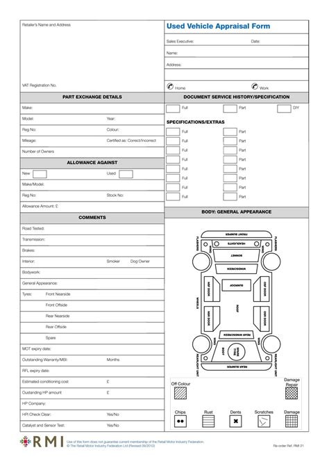 Rmi021p Used Vehicle Appraisal Form Pad Rmi Webshop Vehicle Appraisal Form Templates