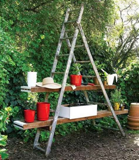 outdoor garden decor outdoor garden decorations made of old wooden ladders