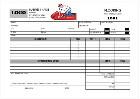 carpet installation receipt template printable carpet installation invoice templates