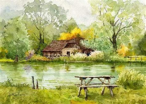watercolor house painting watercolor home pinterest watercolor landscape forest stream river water house on