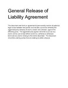 release of liability agreement template release of liability agreement printable sle release