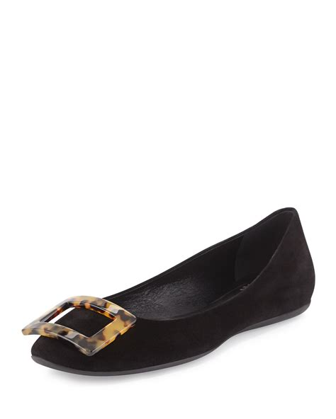 shoes flats black roger vivier gommette suede ballet flats in black lyst