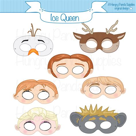 printable masks queen ice queen printable masks party mask costume snowman ice