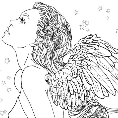 coloring pages for adults girl adult coloring page fantasy girl angel line art color