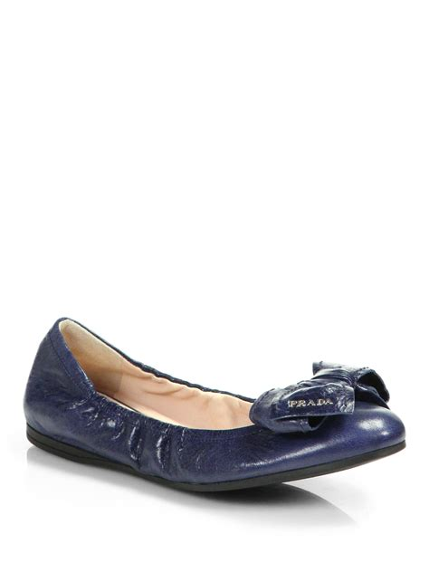 bow shoes flats prada distressed leather bow ballet flats in black