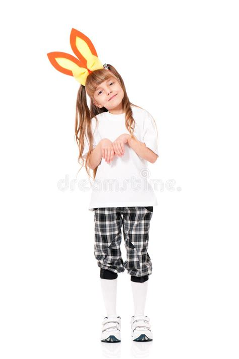 White Bunny Ear Blouse with rabbit ears stock photo image 43792958