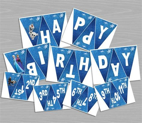 free printable olaf banner happy birthday banner disney frozen printable elsa