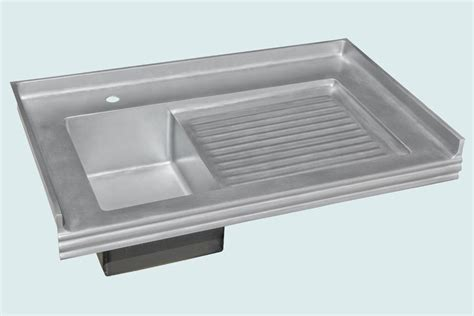 Hand Crafted Zinc Sink With Backsplash & Ribbed Drainboard