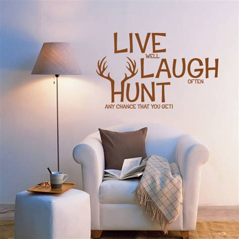 live laugh wall stickers live laugh hunt wall decals wall decor pvc stickers quotes graphics diy ebay