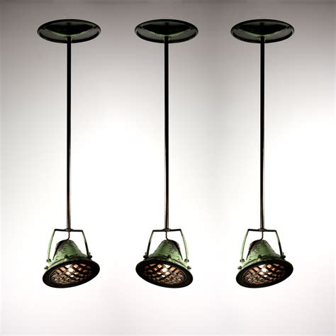 Industrial Pendants Lighting Three Matching Antique Industrial Pendant Lights From Union Terminal Cincinnati Nc1309 For Sale