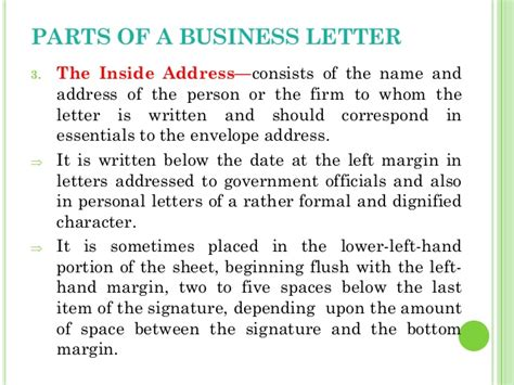 Parts Of A Business Letter Inside Address business letters