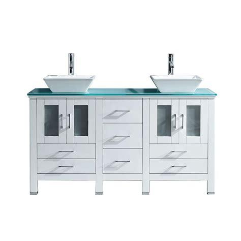 Glass Vanity Tops Virtu Usa Bradford 59 85 In W X 21 89 In D X 32 99 In H White Vanity With Glass Vanity Top
