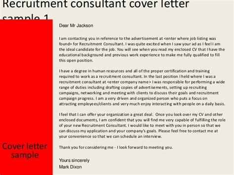 Cover Letter Exle To Recruitment Agency Recruitment Consultant Cover Letter