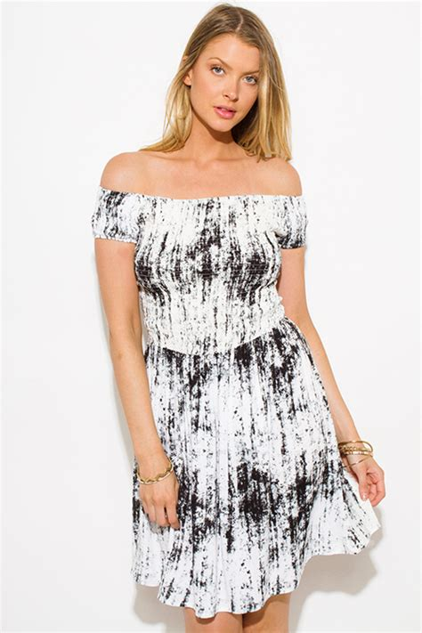 Trend Worth Trying Smocked Patterned Sundresses by Shop Charcoal Gray Tie Dye Print Shoulder Strapless