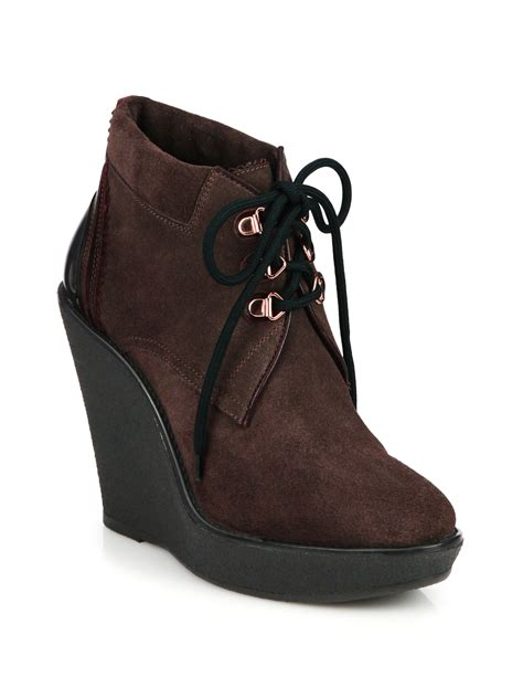 lace up wedge boots burberry watkins suede lace up wedge boots in brown lyst