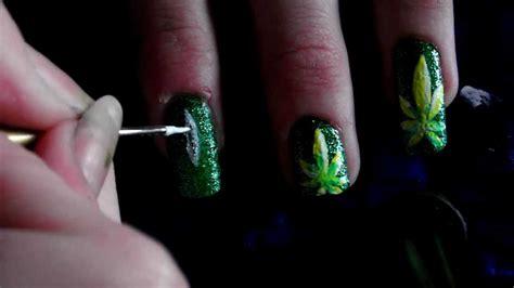 nail art leaf tutorial weed leaf nail art tutorial hd youtube